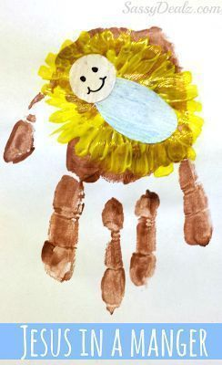 DIY Baby Jesus In a Manger Handprint Craft For Kids #Christmas craft for kids #Religious art project | CraftyMorning.com