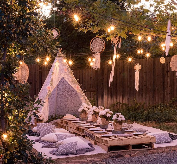 Tipi tent for a summer wedding outdoors, 5-sided Luxurious lace fabric tent for indoor and outdoor (XXL-large 2.2 m high). Perf ...