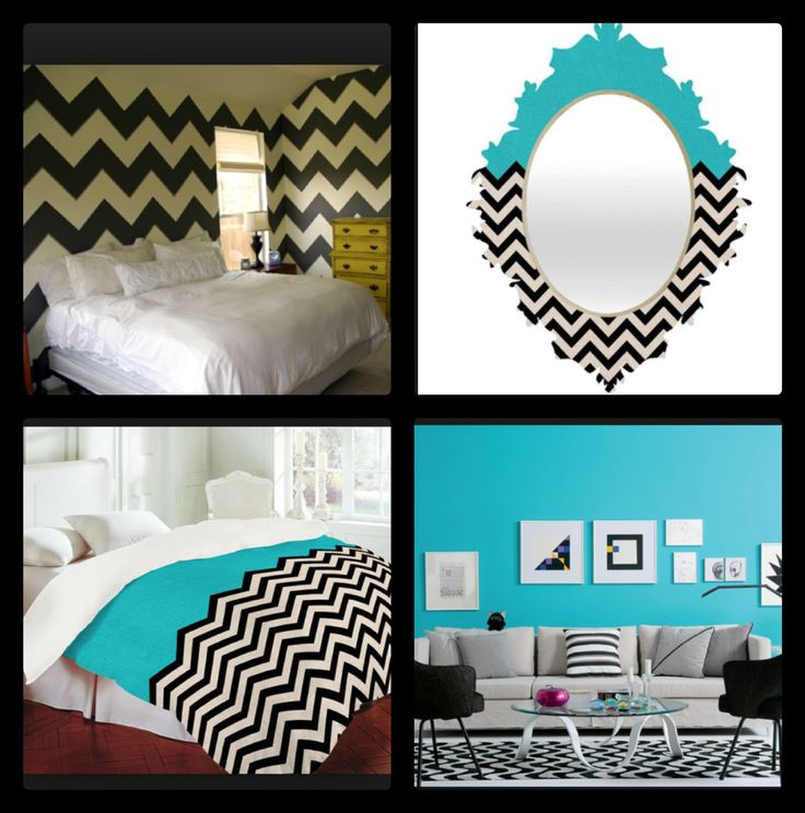 Turquoise black and white chevron room ideas chevron for Black and white and turquoise bedroom ideas