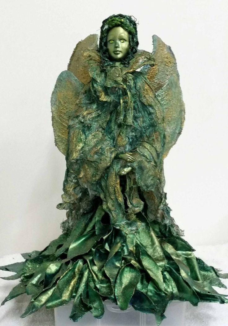 Molly's green fairy, made using powertex and fabrics