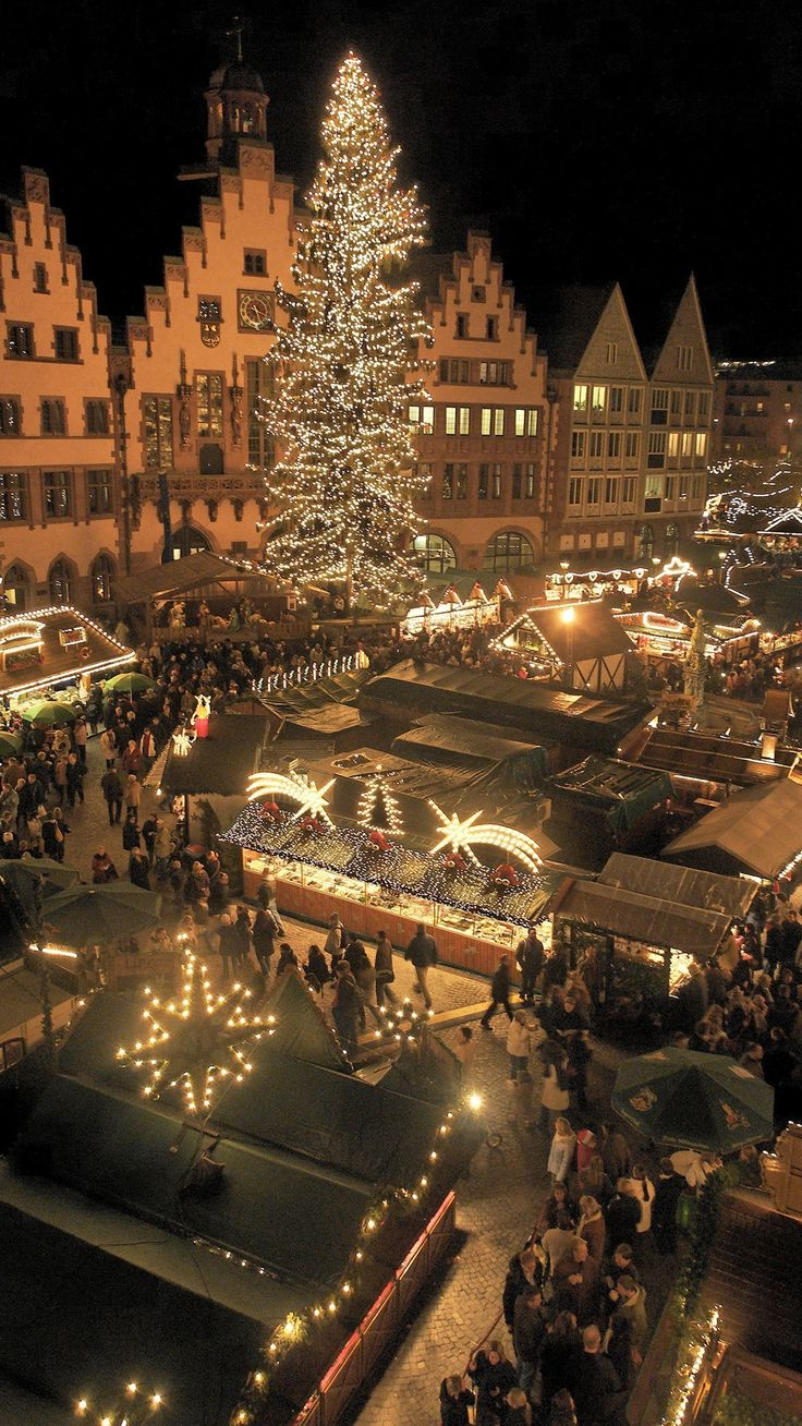 Shown: the Frankfurt Roemerberg Christmas Market, with the original market dating  back to the year 1393.