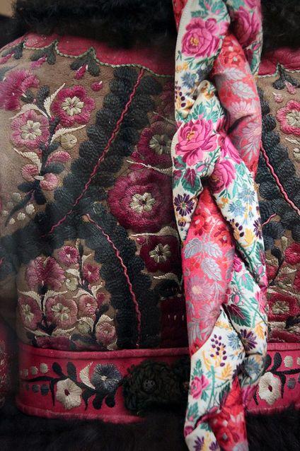 Detail - Paloc maiden in festive winter church clothes, 1870