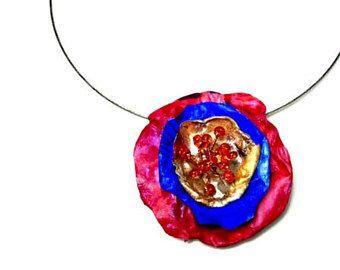 Amapola flor collar de verano de declaración reciclado joyas, Eco Friendly, rojo, azul