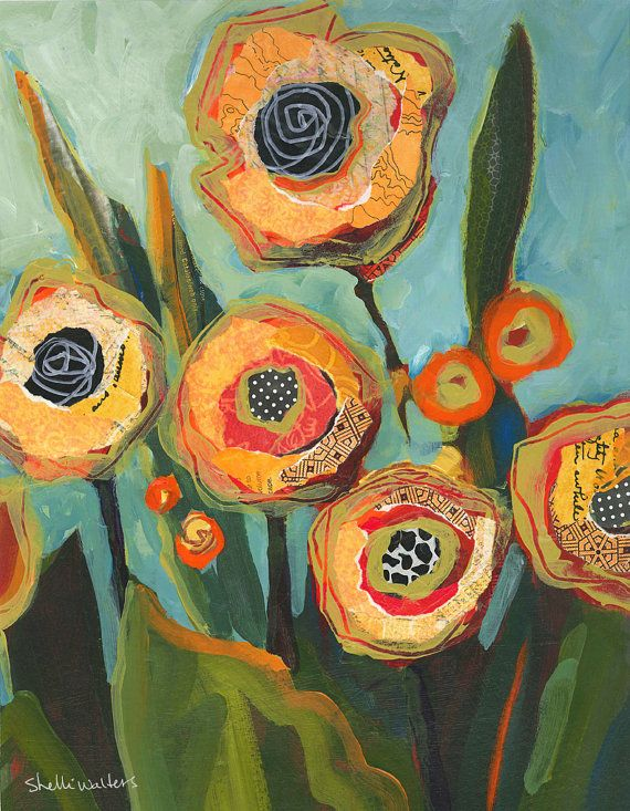 Yellow Flowers No2 Original Painting by Shelli Walters