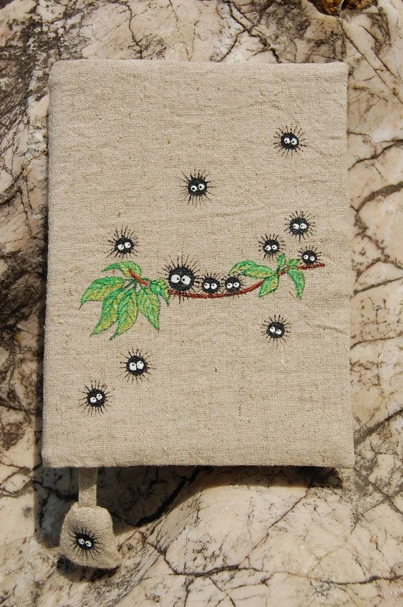 Note Book with Hand Painted Falling Soot pattern on Hemp fabric Cover