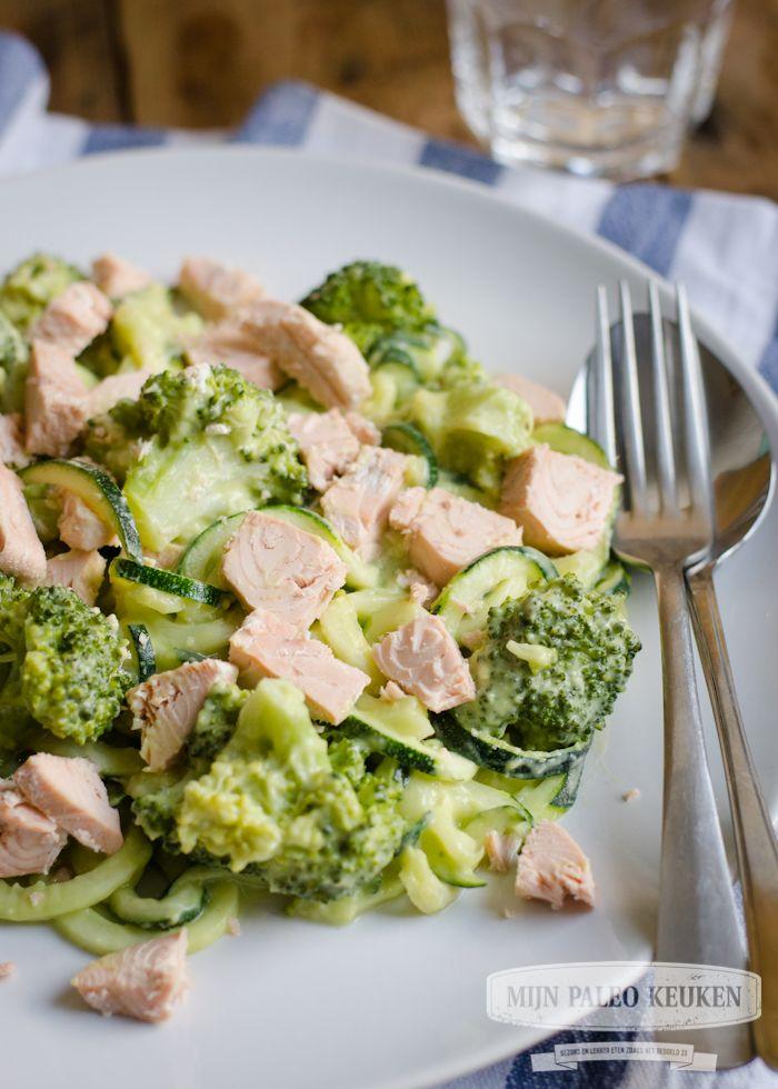 paleo pasta met broccoli en zalm-5