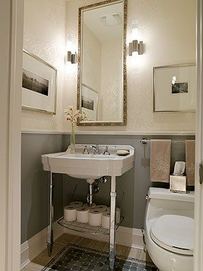 powder room .nice use of chair rail and solid color
