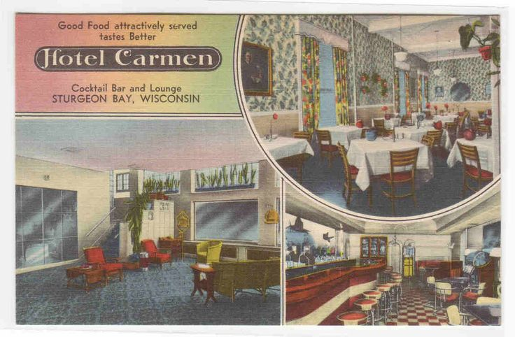 Hotel Carmen Bar & Lounge Interior Sturgeon Bay Wisconsin... - bidStart (item 29760359 in Postcards... Other)