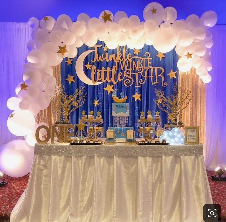 Dreamy Twinkle Little Star Baby Shower Dessert Table Setup We Love That Lighting On This Baby Shower Cake Table
