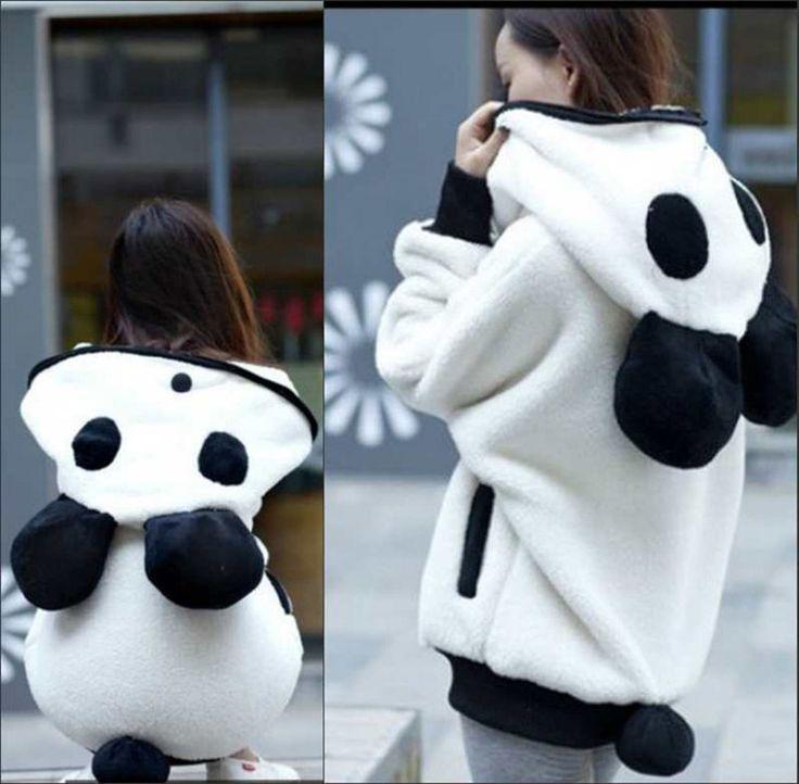 Women's Panda Ear Tail Zip Batwing Cute Long Sleeve Hoodie Outerwear Sweat New #Unbranded #Hoodie