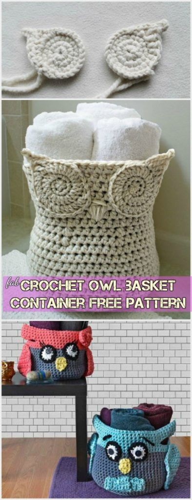 Crochet owl basket container free pattern