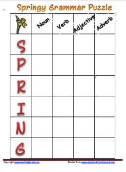 FREE-Seasonal Theme: SpringAcademic Focus: Grammar or Parts of SpeechPractice Grammar or Parts of Speech with this fun Acrostic style puzzle.S...