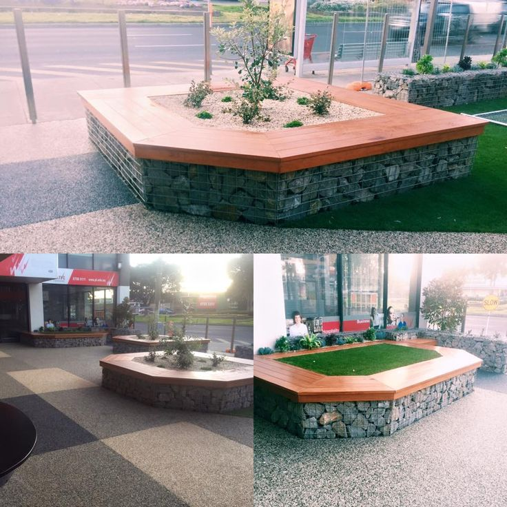 Gabion Seating using Spotted gum for the top