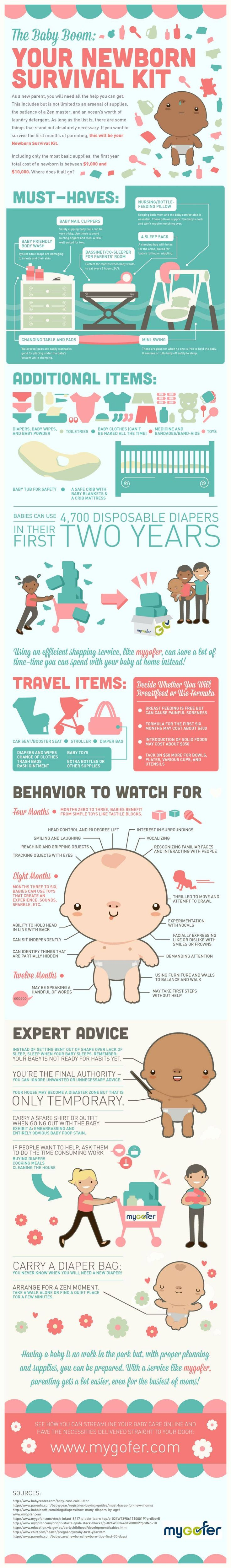 For all my friends/family who are having a baby soon; Wish I would have had this when Krista was born! The Baby Boom: Your Newborn Survival Kit (Infographic)