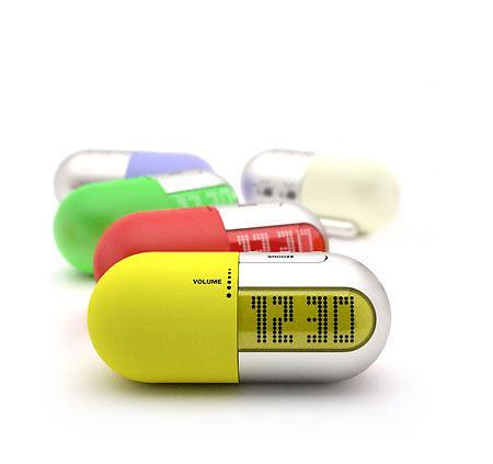 .Pill capsule alarm clocks!