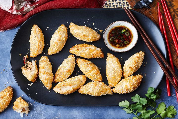 Spicy chicken puffs with ponzu dipping sauce