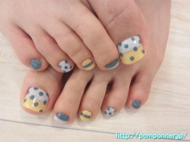 toesToenails, Colors Combos, Pedicures, Polka Dots Nails, Grey Yellow, Wedding Colors, Stripes, Toes Nails Art, Design