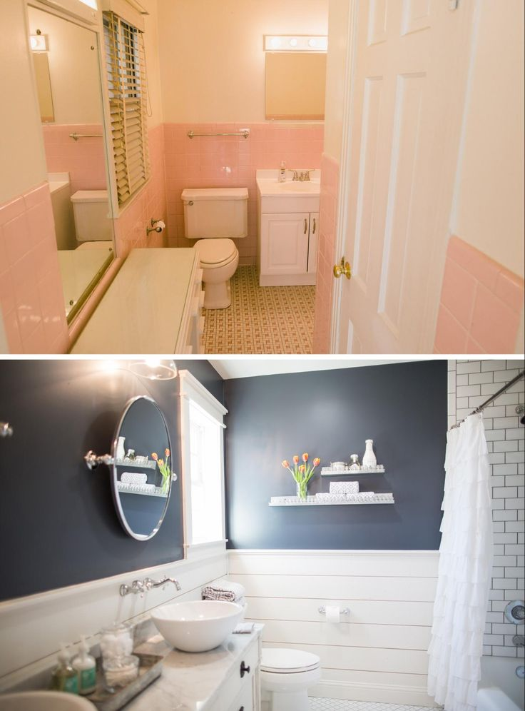 The master bathroom  s original pink tile was quite the throwback  And very obviously hadn  t been updated since the house was built  We demoed all of the old tile and replaced it with shiplap to make it feel like an extension of the master bedroom  To add definition we painted it this deep blue  and to add function I designed the custom vanity with two sinks and two mirrors  To keep with their classic design style  I incorporated a subway tile bathtub surround and this traditional white floor