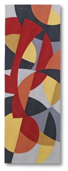 """Liz Kuny  Broken Chord  52 ½"""" x 18 ½""""  Cotton fabric.  Machine pieced; machine & hand quilted, 2011.    Some great examples of curves and circles."""