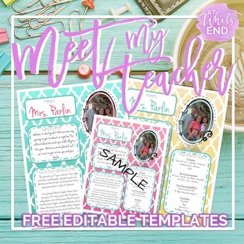 Meet My Teacher: All About the Teacher {Back to School Printables}  PreK, Kindergarten, 1st, 2nd, 3rd, 4th, 5th, 6th, 7th, 8th, 9th, 10th, 11th, 12th Printables, Classroom Forms-If you are looking for a way to introduce yourself to parents, this is it! #meetmyteacher has three custom colors to choose from! These printables are editable. You will customize to make the handout all about you!