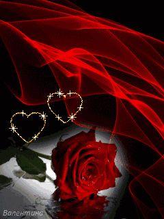 Imagen de amor de corazones y rosas con brillo y movimiento corazones brillantes