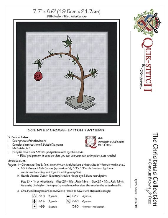 """A Charlie Brown Style Christmas Tree Give as a gift and add a caption to commemorate the event!  Design Dimensions: 7.7"""" x 8.6"""" (19.5cm x 21.7cm) on 16ct Aida fabric #Floss Colors Used: 6 Pattern Includes: - Color photo of finished work - Complete Instructions & Stitch Diagrams - Materials List - Easy to read Black & White grid pattern with symbols code  – B&W grid pattern is used so that you can use your own color palette, as needed  This PDF pattern arrives as an Instant Download! Shortly…"""