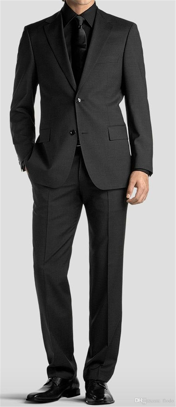 2017 Two Piece Groom Tuxedos For Wedding Party Two Buttons Notched Lapel Black Mens Suits Custom Made Suit+Pants Mens Tuxedo Jackets Mens Tuxedo Styles From Flodo, $69.64| Dhgate.Com