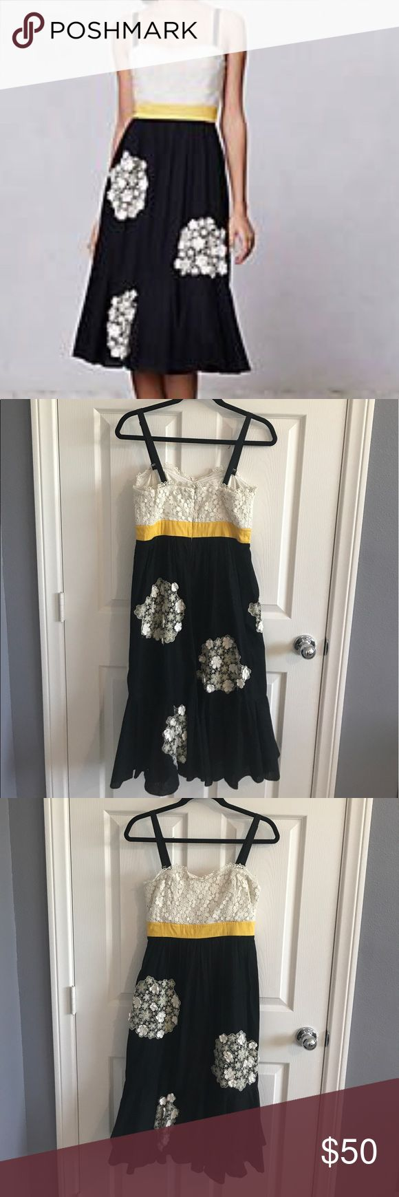 Anthropologie SALE • Dandelion Wish Dress 🌟 GOOD Condition • The bodice of this dress has delicate floral lace and those same flowers are appliqued to the skirt portion in little firework-like puffs • Designed with a longer silhouette, sweetheart bodice and pop of yellow on white and black • removable straps • Add this beauty to your wardrobe 🌟 Anthropologie Dresses