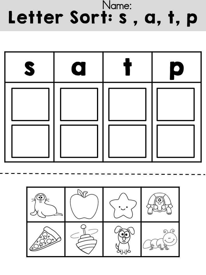 Free Letters sorting cut and paste activity >> Review initial sounds for letters s, a, t, and p >> Part of the Reading Adventures 1 Unit 1 Packet