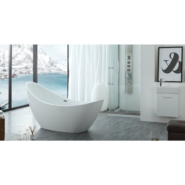 HelixBath Odysseus White Freestanding Swooping Slipper Bathtub With  Overflow (Bathtub), Size Over 71