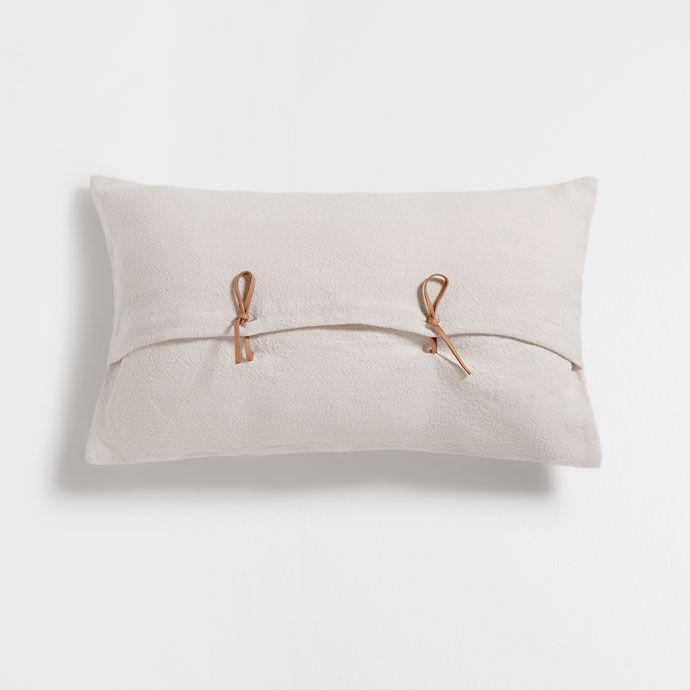 IVORY LINEN CUSHION COVER WITH KNOT BUTTON