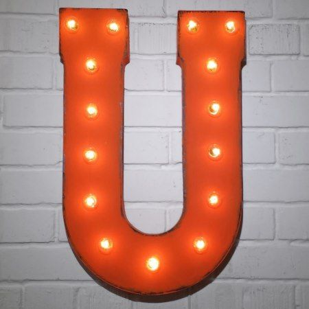 Custom 21' Orange Letter 'U' Vintage Marquee Signs - click to get yours right now!
