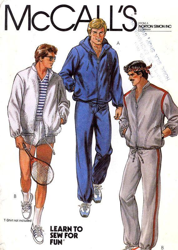 Mens Track Suit pattern vintage sewing pattern Retro athletics Exercise pattern for men jogging suit McCalls 8321 Sz 40 Uncut