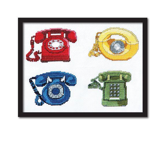 4 Retro Phones Cross Stitch Pattern Instant от tinymodernist