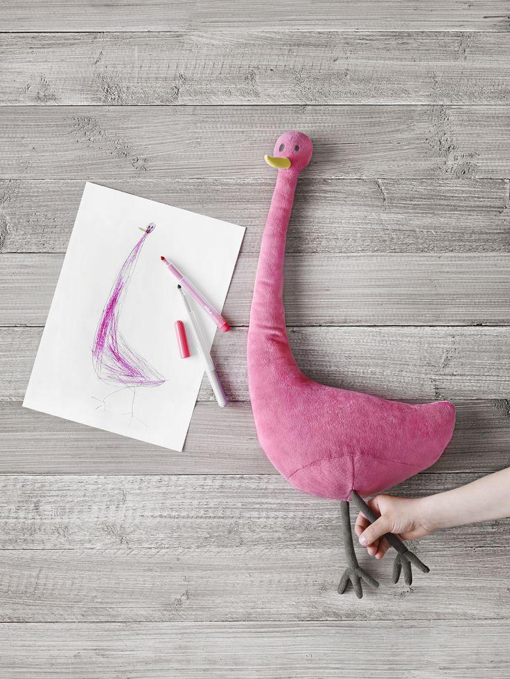 SAGOSKATT vogel | #IKEA #IKEAnl #Kerst #SoftToys #droomknuffel #tekening #fantasie