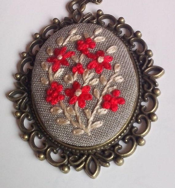 Hand embroidery jewelry gift for mom by RedWorkStitches on Etsy
