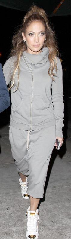 Who made Jennifer Lopez's gray sweatshirt, sweat pants, and white cap toe…
