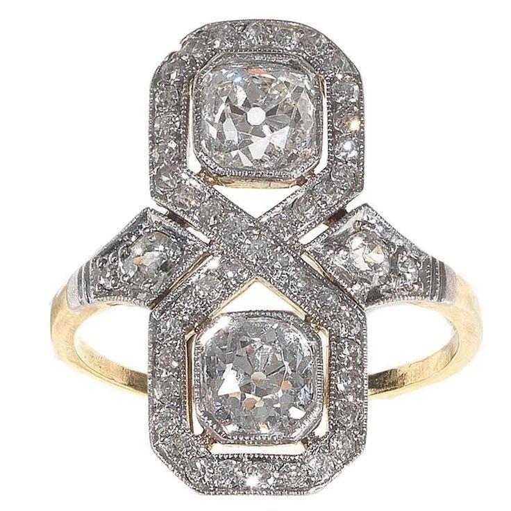 Art Deco Diamant Gold Platin Verlobungsring Art Deco Diamant