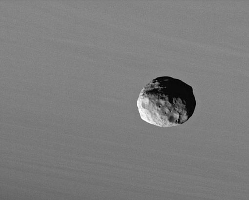 Moons of Saturn : Janus Discovery News Janus is a tiny, potato-shaped satellite that is typical of Saturn's 17-plus moons: cratered and icy. It's the big brother to the moon Epimetheus, which hangs out in nearly the same orbit. By studying Cassini spacecraft images closely, scientists have noticed both moons hang out in a thin but wide ring of dust and ice -- likely the leftovers of meteorite impacts over the eons. CREDIT: NASA/JPL/SPACE SCIENCE INSTITUTE