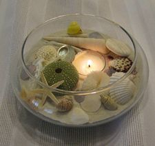 seaside center piece - sand,starfish,seashells,sea urchins, sand dollars...and a tealight - Super