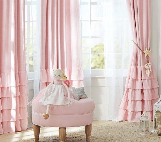 Lillie Coe's curtains for the nursery! Evelyn Linen Blend Ruffle Bottom Blackout Panel   Pottery Barn Kids