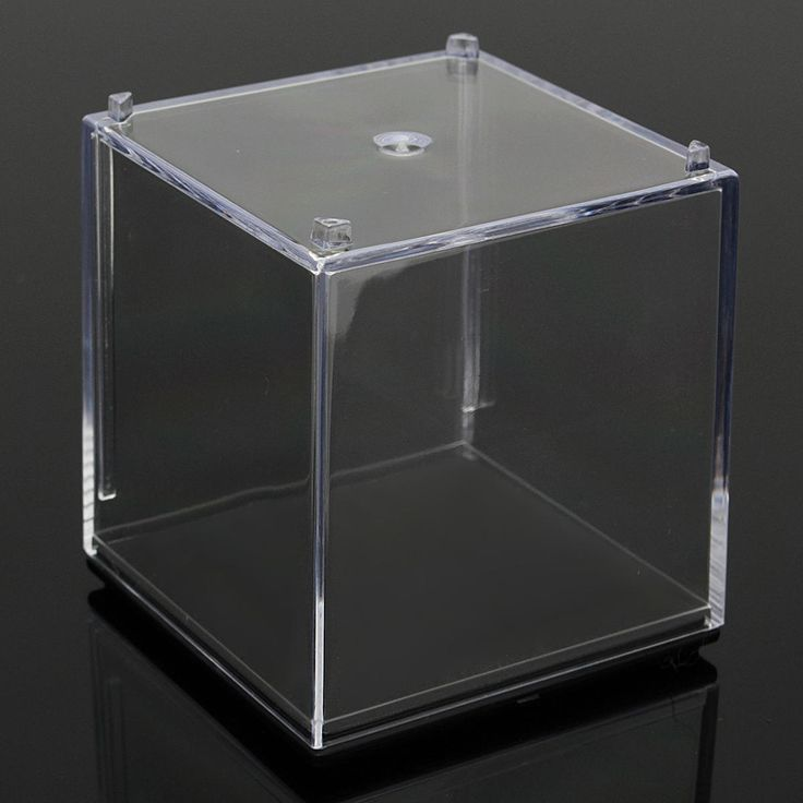5x5x5cm Clear Acrylic Display Stand Box Case Plastic Base Dustproof Tray Protection Cube
