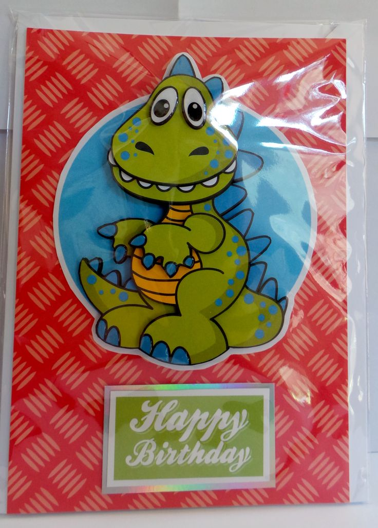 A5 3D dinosaur with glossy claw's, eye's and teeth with hand made envelope