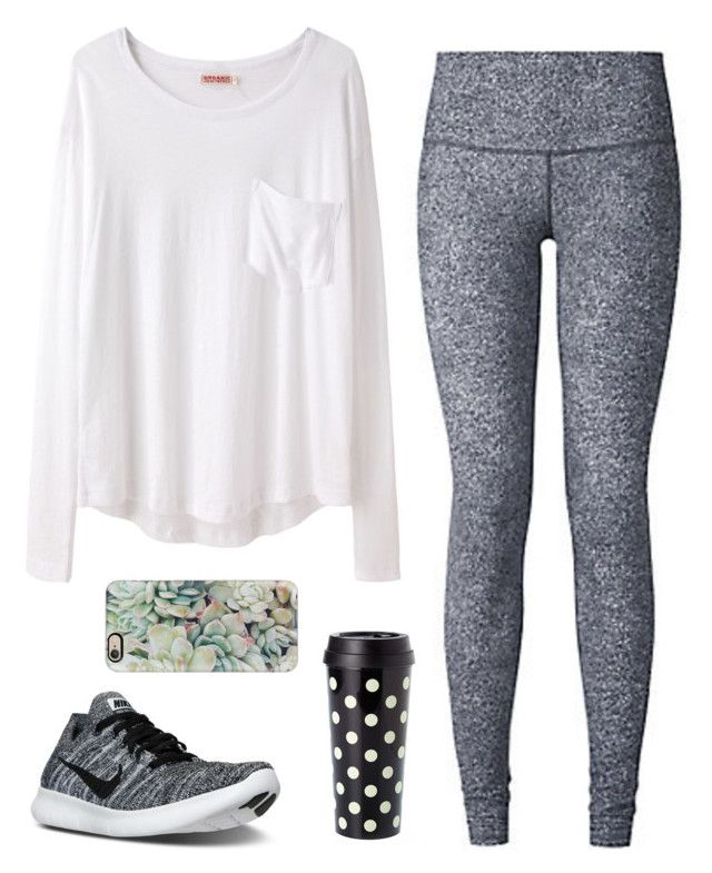"""""""Comfy"""" by classygrace ❤ liked on Polyvore featuring Organic by John Patrick, NIKE, lululemon, Kate Spade, Casetify and gracesfavorites"""