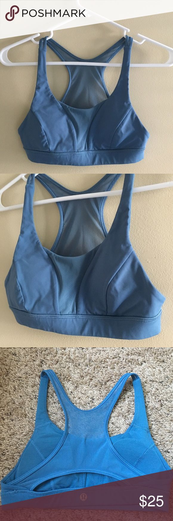 LULULEMON BLUE SPORTS BRA SIZE 4 Like New Lululemon Bra. Very comfy. Size 4. Mesh back. This bra is Light Blue. The stock photo used is only for style reference- not color. lululemon athletica Intimates & Sleepwear Bras