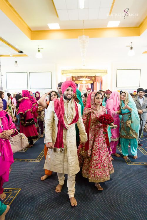 Revina + Shaminder - Stylish Punjabi Wedding in Sydney - Just Married! Wedding day style - wedding ceremony - gurdwara - Indian bride - Indian groom - Indian wedding - Sikh wedding - Sikh bride - Sikh groom - Punjabi wedding - Punjabi bride - Punjabi groom - hot pink wedding anarkali - heavy wedding anarkali. Read more at www.thecrimsonbride.com! #thecrimsonbride