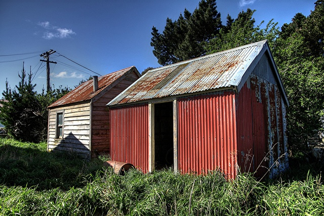 Old house and shed, Waterholes Road, Rolleston, Canterbury, New Zealand by brian nz, via Flickr