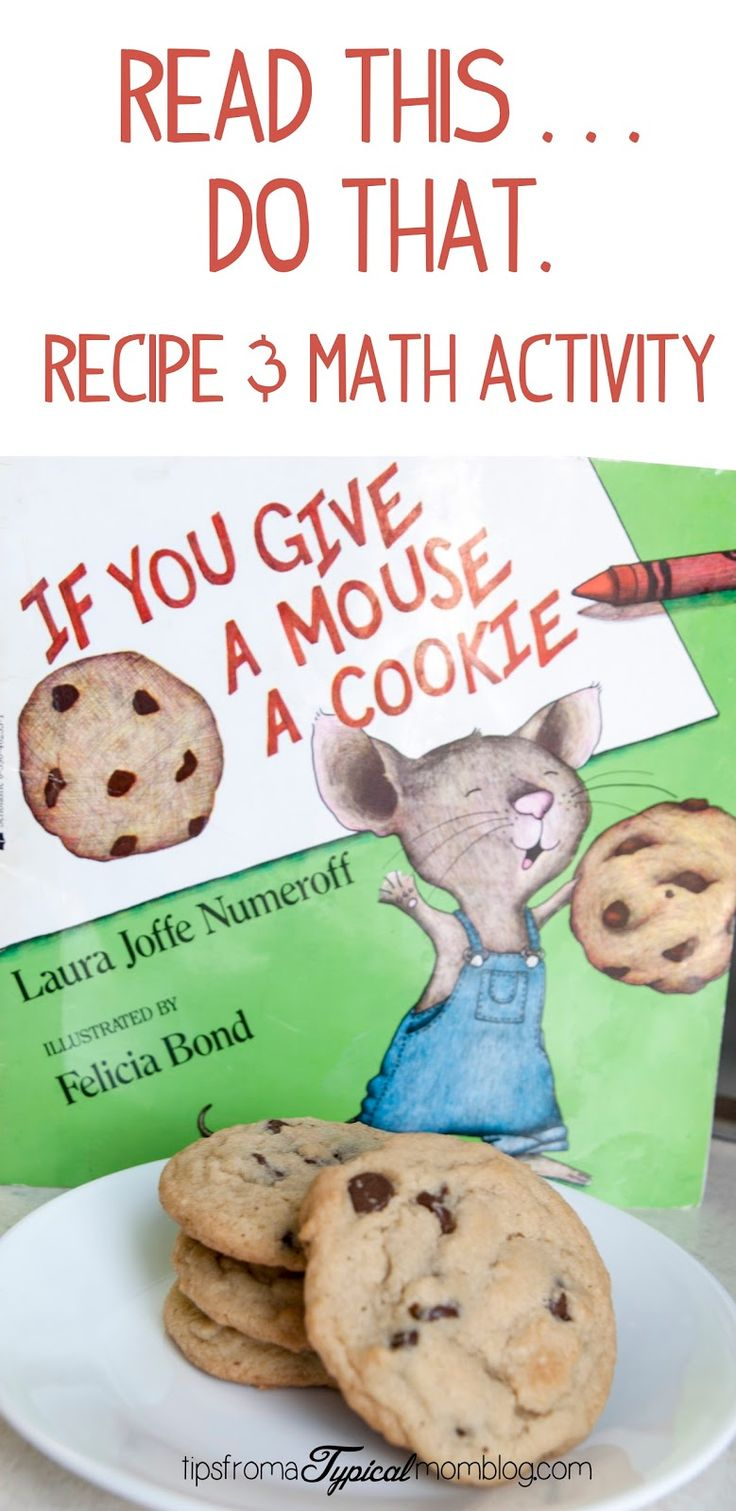 """If You Give a Mouse a Cookie"" recipe and math activity for your preschooler. A Read This, Do That activity from Tips From a Typical Mom."