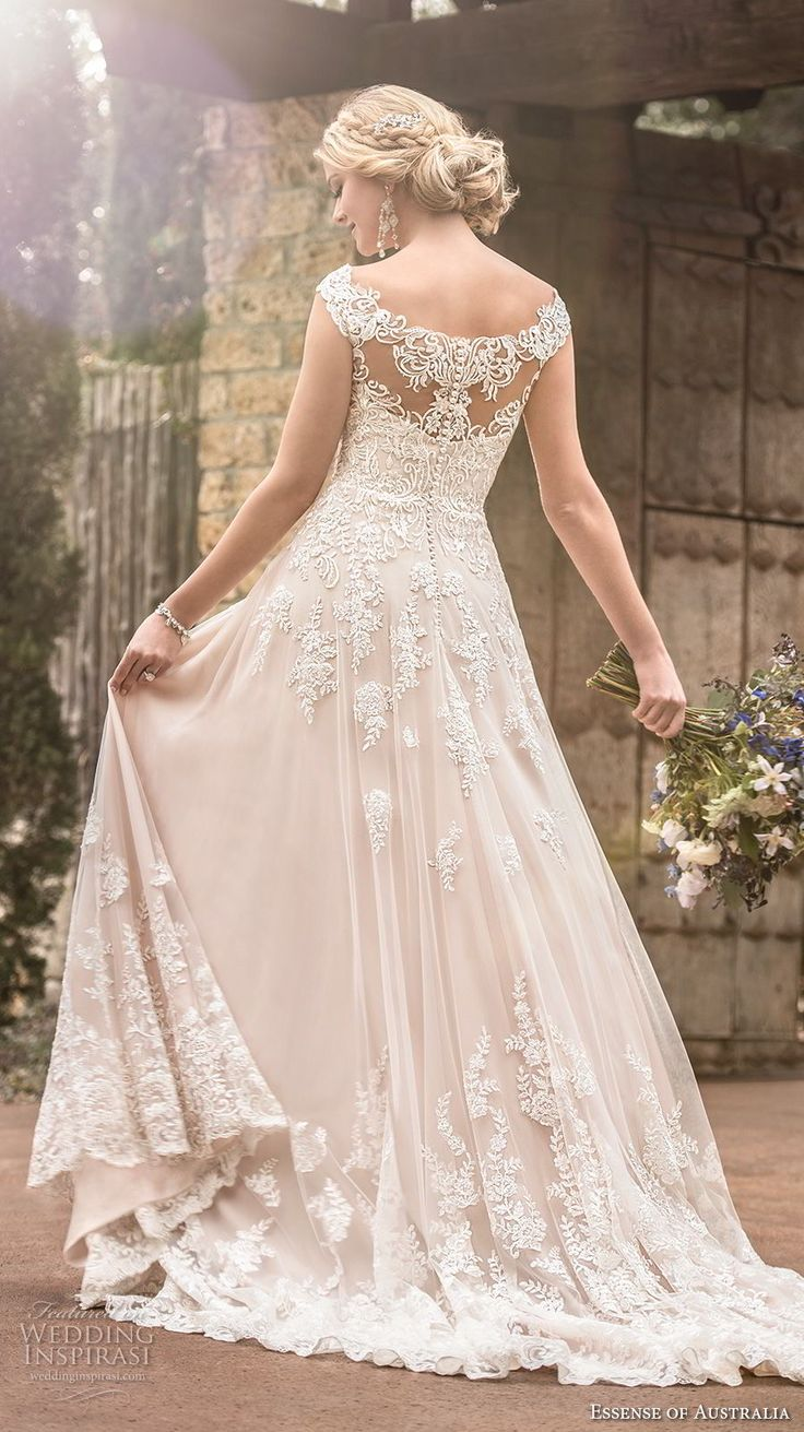 essense australia fall 2017 bridal cap sleeves illusion bateau sweetheart neckline full embellishment romantic blush color a  line wedding dress lace back sweep train (27) mv -- Essense of Australia Fall 2017 Wedding Dresses