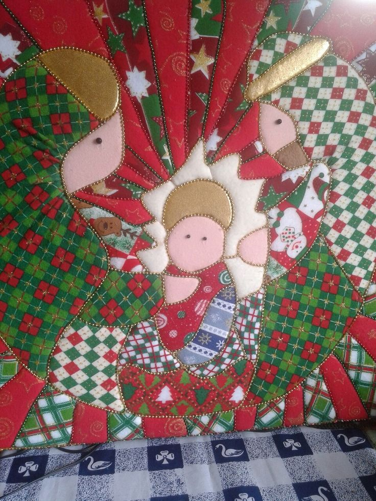 cuadro navideño tecnica patchwork sin aguja